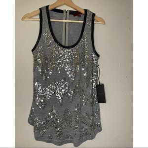 Line & Dot Sequin Tank Top sz S
